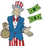 Uncle sam with money bags